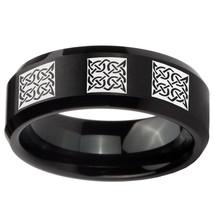 Multiple Square Celtic 8mm Brushed Black Beveled Tungsten Ring - $43.99