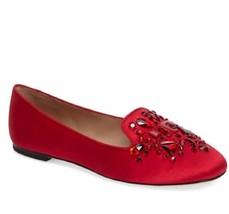 Tory Burch Delphine Crystal Logo Satin Ballet Flat Loafer - Size 9.5 - $115.15