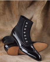 Handmade Men's Black Wing Tip High Ankle Leather And Suede Buttons Boots image 2