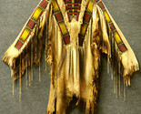 Men Native American Buckskin Tan Buffalo Leather Beaded Powwow War Shirt NA163 - $269.10