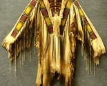 Men Native American Buckskin Tan Buffalo Leather Beaded Powwow War Shirt NA163 - £214.40 GBP