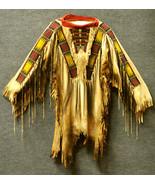 Men Native American Buckskin Tan Buffalo Leather Beaded Powwow War Shirt... - $269.10