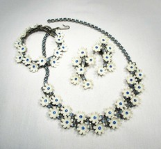 Vintage Blue Rhinestone & White Plastic Flower Jewelry Set C2531 - $48.28