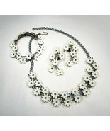 Vintage Blue Rhinestone & White Plastic Flower Jewelry Set C2531 - $48.28