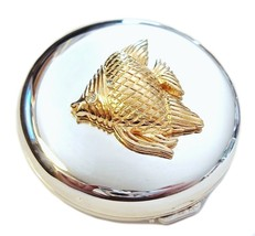 Double Mirror Compact Fish Design Two Toned Silver Gold Metal - $16.99