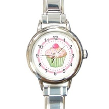 Ladies Round Italian Charm Bracelet Watch Lovely Pink Cupcake Cream 3016... - $11.99