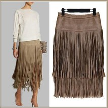 Western Double layer Long Fringe Tassels Brown Faux Suede Leather Midi Skirt image 3