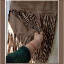 Western Double layer Long Fringe Tassels Brown Faux Suede Leather Midi Skirt image 4