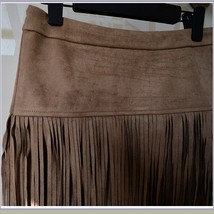 Western Double layer Long Fringe Tassels Brown Faux Suede Leather Midi Skirt image 5