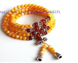 Free Shipping -  Tibetan  natural yellow  jade  Mala yellow jade beads meditatio - $26.99