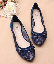 Blue See Through Lace Shoes,Shoe lace styles,Lace Up Flats,Lace Ballet F... - £38.61 GBP
