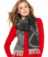 LAUREN RALPH LAUREN Bridle Jacquard Scarf Blacklight Grey - $30.39