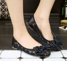 Black See Through Lace Shoes,Shoe lace styles,Lace Up Flats,Lace Ballet ... - £38.61 GBP