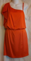 Jessica Simpson bright orange shiny one shoulder dress w left strap sz 8... - £13.19 GBP