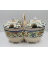 Vintage Japan Ceramic Porcelain Floral Sugar Creamer Condiment Caddy Set - $29.68