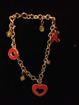 Silver Tone Hugs & Kisses Heart Bracelet Red Enamel Costume Fashion Jewelry - $10.66