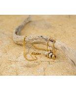 Lovely Charm Gilrs Chain Gold & Rhodium Plated 3 Rings CZ Handmade Girl ... - $73.19