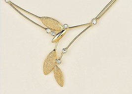 Fine Handmade Necklace Delicate Pendant Leaf Gold Plated Crystal CZ Uniq... - $117.32