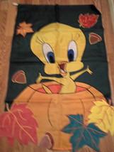 Halloween Thanksgiving Tweety Bird in Pumpkin Garden Flag - $26.48 CAD