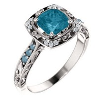 Blue Diamond & Cushion London Blue Topaz Halo 14K White Gold Engagement ... - £733.18 GBP
