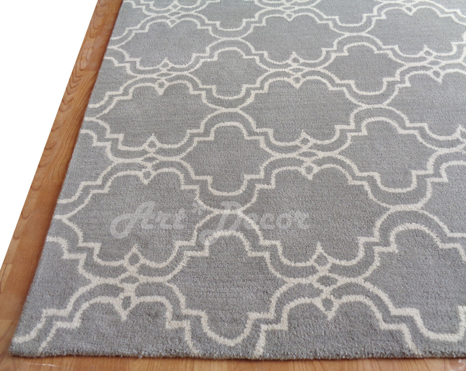 Pottery Barn Persian 8x10 Scroll Tiles Gray Woolen Area