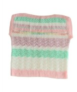 Vtg 80s Pastel Sweater Fairy Kei Easter Hand Knit Crochet Boatneck Lolit... - $34.64
