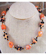 WOMEN'S BRIGHT ORANGE TURQUOISE CORAL BLACK CLUSTER BEADED NECKLACE AUT... - $24.74