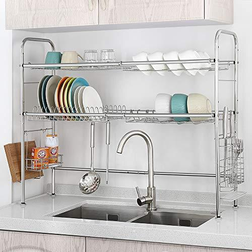 NEX Over the Sink Dish Drying Rack 2 Tier Stainless Steel Dish Rack Adjustable