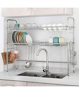 NEX Over the Sink Dish Drying Rack 2 Tier Stainless Steel Dish Rack Adju... - $71.33