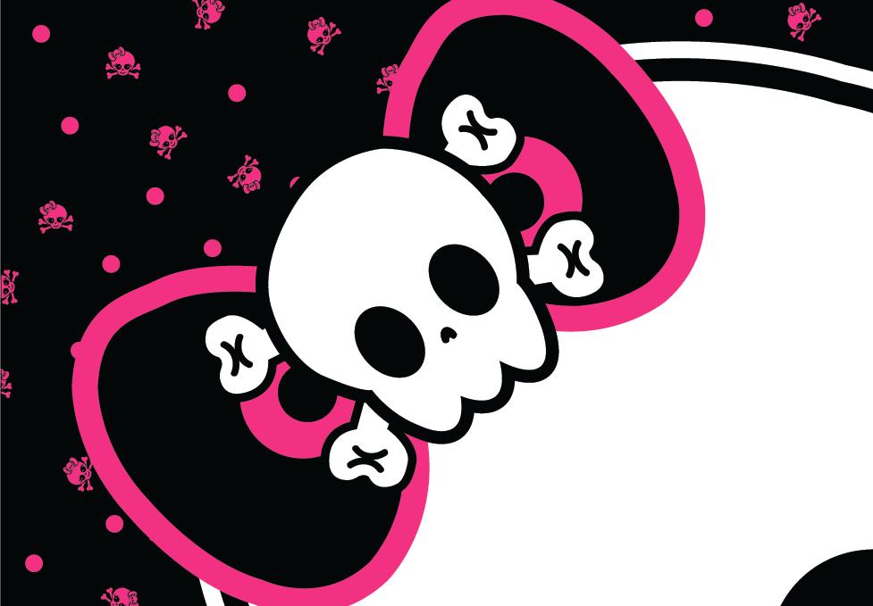 "Punk Princess Girly Skull Baby Shower, 72"" x 13"" Premium Vinyl Custom Banner"