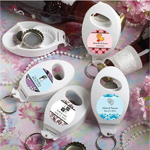65 Personalized Wedding Bottle Openers & Key Chain Favors Reception Part... - $57.40