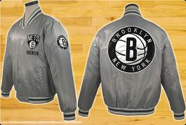 JH Design NY Nets NBA Satin Jacket Silver - $79.95+