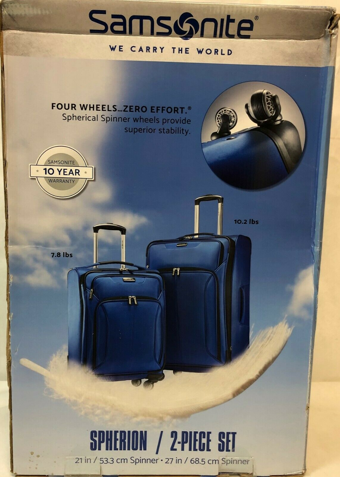 "Samsonite 2-PC 21"" & 27"" Spherion Expandable Spinner Suitcase True Blue"