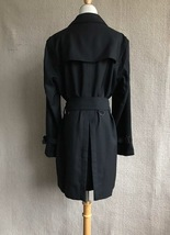 100% AUTHENTIC BURBERRY LONDON CLASSIC BLACK WOOL TRENCH COAT JAPAN  image 2