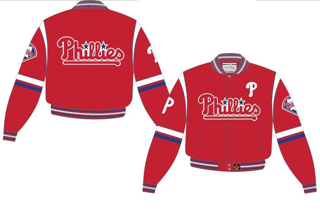 Jh design philadelphia phillies twill  jacket phi 303 tea1 red
