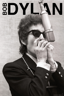 Bob Dylan Poster 24x36 inches Recording Session Sunglasses Microphone Harmonica