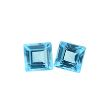 4.20 CT NATURAL SWISS BLUE TOPAZ GEMSTONE FACETED SQUARE SIZE 9 MM AAA - $54.44