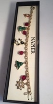Napier Christmas Charm Bracelet Enamel Bead Gold Plated Nib Penguin Tree  - $24.13