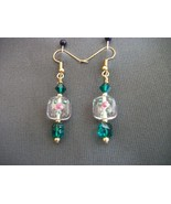 Czech Lampwork Earrings with green Swarovski beads - $18.00