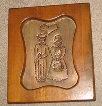 Wood Copper Punched Couple Framed Picture - $30.00