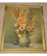 1937 Floral Still Life Litho Print Artist Lowell Pre-Mid Century - $68.25