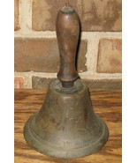 Antique Wood Brass School Bell 1800's - $156.54