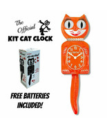 "PUMPKIN DELIGHT LADY KIT CAT CLOCK 15.5"" Orange Free Battery MADE IN USA... - $69.99"