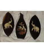 3 Vintage Midcentury Oval Oriental Inlaid Bone Elephants Plaques - $99.75