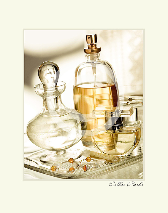 'Perfume' (glass bottles) Fine Art Print - 8x10 print matted to11x14