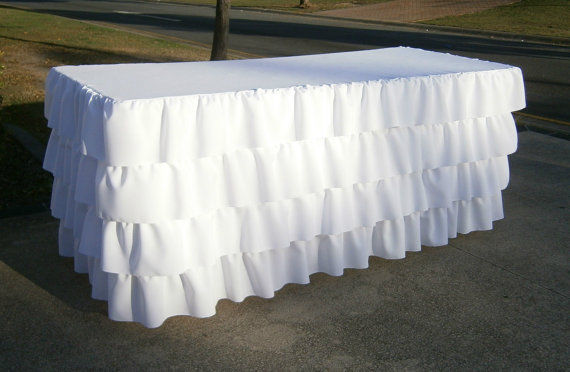 WHITE Ruffled 4 Tier Table Skirt Cotton - Ruffle Layered Complete Table Cover