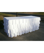 WHITE Ruffled 4 Tier Table Skirt Cotton - Ruffle Layered Complete Table ... - $99.99+