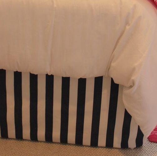 Black White Stripe Cotton Tailored Bed Skirt Crib Skirt