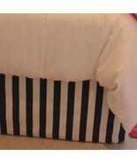 BLACK WHITE STRIPE Cotton Tailored Bed Skirt / Crib Skirt - $69.98
