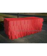 RED Layered Table Skirt Cotton - Ruffle Layered Complete Table Cover - $98.99+
